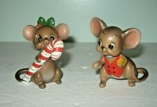 """Josef Originals Boy & Girl with Candy Cane Holiday Mice Figurine 2.5"""" Tall"""