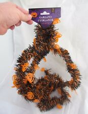9 ft Halloween Party Tinsel Decor Trick Or Treat Pumpkin Tree Black Garland