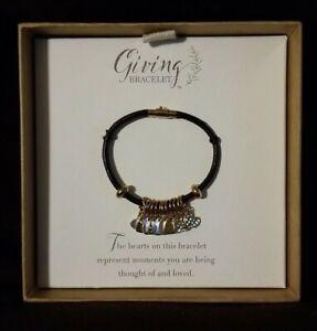 DEMDACO Heart Giving Metallic Zinc Alloy Metal/ Leather Bracelet 12 Hearts *NEW*