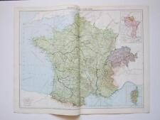 1920 Map France & Switzerland Large Colour Map Gross
