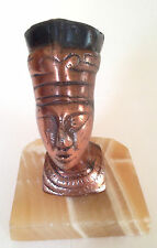 Vintage Egyptian Small Copper Tone Queen Nefertiti Figurine on Marble Base
