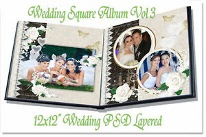 "Photoshop Wedding Digital Photo Book Templates PSD 12x12"" Vol 3"