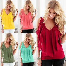 Summer Women Casual V Neck T Shirt Short Sleeve Tops Chiffon Loose Blouse
