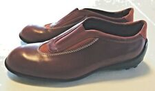 Tod's Women Burgundy Leather Flats Elastic Inserts Made in Italy Size 39 1/2