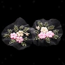 2x Ribbon Embroidery Flower Sewing Applique Clothes Dress Embellishment Pink