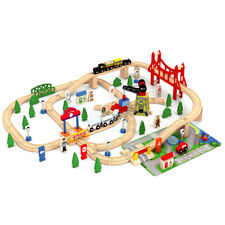 Wooden 100 Pcs Busy City & Train Set Railway Track Toy Brio Bigjigs Compatible