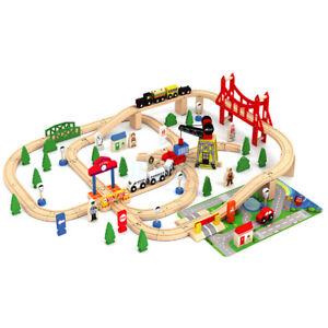Wooden 100 Pcs Busy City & Train Set Railway Track Toy Brio Bigjigs Compatible