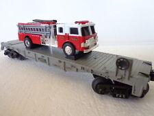 NIB RAIL KING MTH TRANSPORT COMPANY FLAT CAR WITH ERTL FIRE TRUCK