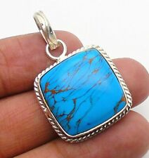 Copper Turquoise  Pendant Gemstone Jewellery 925 Sterling Silver Handmade 38mm