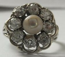 Antique 18ct Gold Diamond Platinum Pearl Ring