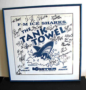 "Fargo Moorhead ICE SHARKS USA Hockey Signed Framed Tank Towel 16.5"" ND FREE SH"