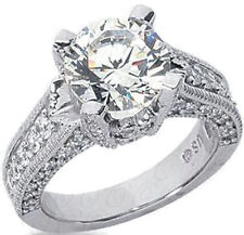3.83 ct Round Diamond 14k Gold Solitaire Ring 3 ct center I SI1 GIA certificate