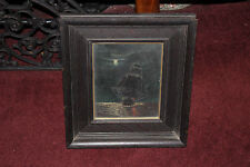 Antique Nautical Oil Painting-Sailing Ship Vessel Night Moonlit Sky Ocean-Framed