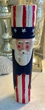 "HAND CARVED WOOD AMERICANA UNCLE SAM  Signed 10 3/8"" H"
