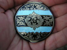 ANTIQUE VINTAGE BLACK + BLUE ENAMELED ORNATE STERLING SILVER COMPACT CASE