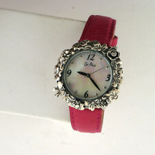 Or Paz 925 Sterling Silver Case Leather Band Watch Garden Charm Analog Isreal