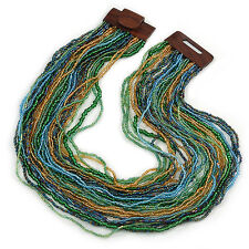 Light Blue/ Gold/ Green Glass Bead Multistrand, Layered Necklace With Wooden Squ