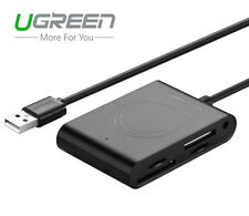 Ugreen 3 Port USB 2.0 Hub With SD/TF/MS/M2 Memory Card Reader For PC Laptop Mac