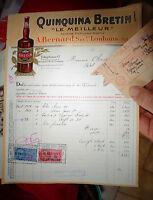 Facture Bouteille Apéritif Quinquina Bertin Louhans 1951 et Timbres Fiscaux