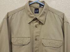 Men's Gap Thick Cotton Long Sleeve Button Work Shop Casual Shirt - Beige - Large