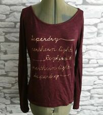 SUPERDRY northern lights fine knit cotton jumper top XS 6/8 uk burgundy red wome