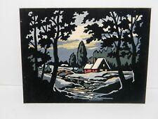 "Cabin in the Woods w Stream Bridge Trees Velvet Painting Wall Art Vintage 8""x10"
