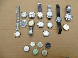 TIMEX MEN'S WATCHES AUTOMATIC ELECTRONIC DYNABEAT VINTAGE LOT SOME W/ SS BANDS
