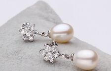Genuine Real Freshwater Pearl Earrings White Drop Dangle In Solid 925 Silver New