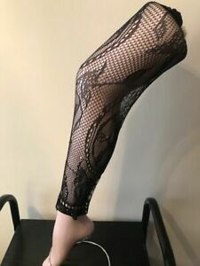 """LACE TIGHTS FOOTLESS FLORAL  PATTERN ONE SIZE SUPER STRETCH SIZE 34"""" - 42 """"HIPS"""