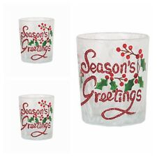 Set of 3 Aromatize Seasons Greetings Votive Candle / Tea Ligh Holders