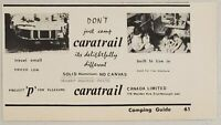 1965 Print Ad Caratrail Travel Trailer Solid Aluminum Scarborough,Ontario Canada