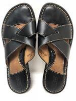 Womens BORN Black Leather Slides Wedge Heel Sandals SIZE 6 EU 36.5