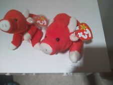 Cherity *Rare ty Beanie babies 2 Snort the red bulls in *Perfect Mint Condition*