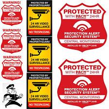 "2 Big 9"" Alarm System Decal plus 3 Alarm 3"" decals & 3 Warning Camera Decals"