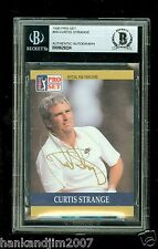 Curtis Strange Autographed 1990 Pro Set Golf Card #60 Beckett Authentic Encased