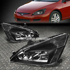 BLACK HOUSING HEADLIGHT+CLEAR CORNER SIGNAL LIGHT FOR 03-07 HONDA ACCORD 2DR/4DR