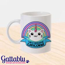 Tazza I am a meowgical caticorn, gatto unicorno kawaii gattino, personalizzabile