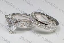 Certified 4.50Ct Trillion Cut White Diamond Engagement 14K White Gold Ring Set