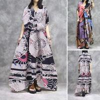 Mode Femme Vintage Loisir Col V Floral imprimé Manche courte Robe Dresse Plus