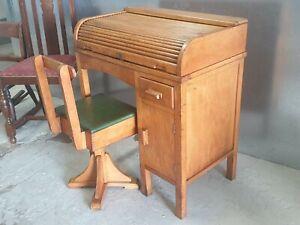VINTAGE MID-CENTURY c1950 ROLL TOP DESK SWIVEL CHAIR CHILDS LAPTOP iPAD STATION