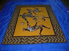 Vintage~TRIBAL AFRICAN WOMEN Moon Dance Area Rug~Tribal~Yellow-Black-Teal 5x7