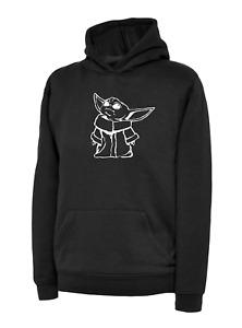 Kids BABY YODA Black Hoodie Cute Star Wars Gaming Hooded Sweatshirt Force Yoda