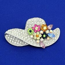 Hat Flower Brooch Made With Swarovski Crystal Floral Multi Color Bridal Pin