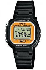 LA-20WH-9AV CASIO Ladies Basic Simple Digital Watch Black Orange Water resistant