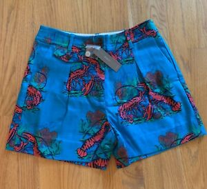 """J Crew NWT 4"""" Pleated Short  Lobster Print Grasscloth size 2,8  Blue Red #AP356"""