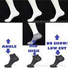 Mens Womens 9-11 10-13 Crew Ankle Low Cut Socks Lot Black White  3-6-12 Pairs