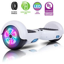 White Hoverboard Electric Self Balancing Scooter Led Sidelights For Kids no bag