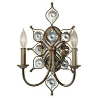 Feiss WB1579BUS Leila 2-Light Candle-Style Wall Sconce Burnished Silver Crystal