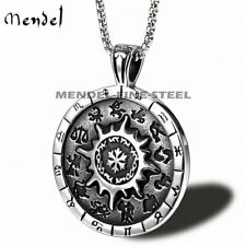 MENDEL Mens Vintage Zodiac Sign Necklace Pendant Stainless Steel Silver Jewelry