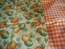 "coupons tissu  "" citrouille,potiron ""   +  vichy orange"